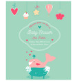 baby shower invitation card with happy whale in a vector image