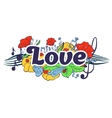 Love typography lettering with flower elements vector image