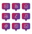 social media line icons set vector image