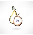 Pear and apple grunge icon vector image
