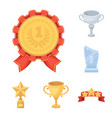 awards and trophies cartoon icons in set vector image