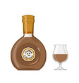 bottle coffee liqueur with glass isolated on vector image vector image