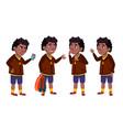 boy schoolboy set black afro american vector image vector image