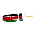 brush stroke with kenya national flag isolated on vector image
