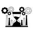 business hourglass chart arrows and gears vector image vector image