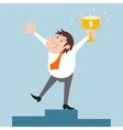 Businessman character won trophy vector image