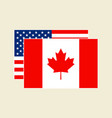 canadian and american flags set vector image