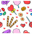 candy sweet various food doodle style vector image vector image