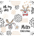 christmas seamless pattern with cute reindeer vector image vector image