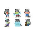 cute raccoon cartoon character set adorable vector image vector image
