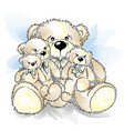 drawing teddy bears with bow vector image vector image