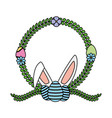 easter eggs ears wreath flower vector image