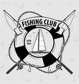 fishing sport club logo with lifebuoy vector image vector image