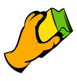 hand in gloves with rag icon icon cartoon vector image vector image