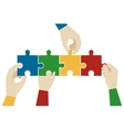 Hands assembling jigsaw puzzle pieces vector image vector image