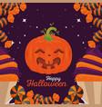 happy halloween pumpkins design vector image vector image