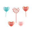 happy valentines day heart symbols set vector image