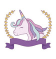 head cute unicorn with ribbon and branches of vector image vector image