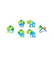 home tree greening icon logo vector image vector image