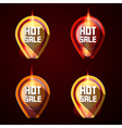 Hot Sale Stickers - Labels Set in Flames - Fire vector image vector image