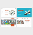isometric airport websites collection vector image