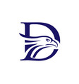letter d and eagle head logo vector image vector image