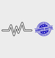 linear pulse signal icon and scratched vector image vector image