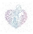 Lovers inside frame heart vector image