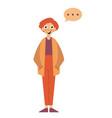 man thinking flat style cartoon colorful vector image