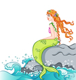 Mermaid sitting on the rock vector image
