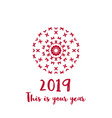new year greeting card with red geometric ornament vector image vector image