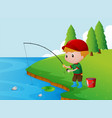 one boy fishing alone on the river bank vector image vector image