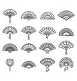 paper handheld fan icons set outline style vector image