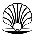 pearl in a shell black and white icon vector image vector image
