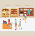 people in supermarket grocery store with shopping vector image vector image