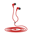 Red music wired headphone vector image