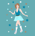 roller skating girl vector image