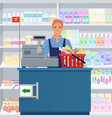 salesman man cashier standing at checkout in vector image vector image