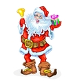 Santa Claus with a bell and a gift in a box vector image vector image