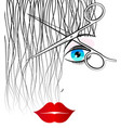 scissors cut curls beauty salon vector image