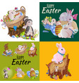 set easter egg hunt funny bunny with basket vector image vector image