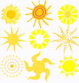 Set of Cartoon Suns vector image