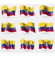 Set of Ecuador flags in the air vector image vector image