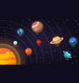 set of flat doodle cartoon icons planets of vector image vector image