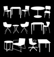 set of furniture tables and chairs vector image vector image