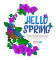 spring season frame wit exotic bird sitting vector image