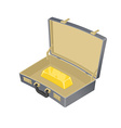 Suitcase with gold Case with golden bullion vector image vector image