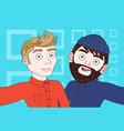 two hipster men taking selfie photo posing make vector image vector image