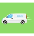 White delivery van on the green background vector image vector image