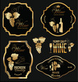 wine golden labels collection vector image vector image